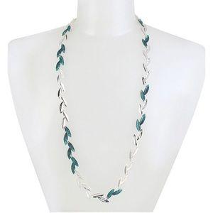 ROBERT LEE MORRIS Patina leaf long necklace NWT
